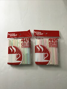 2 PACKS OF HOME SMART 400 COUNT COFFEE STIRRERS MULTICOLOR TOTAL 800 PCS