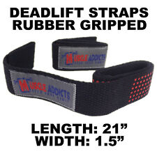 Deadlift Bar Straps Rubber Textured Weight Lifting Grip Barbell Muscle Addicts