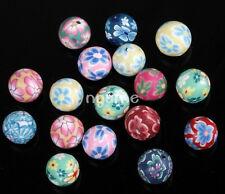 Perle Intercalaire Fleur Imprimé Perle Pour Bracelet Polymère Argile Fimo 10mm