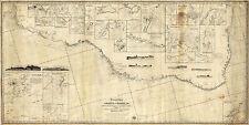 1860 Wall Map Chart Coasts of Brazil fr. River Para to Buenos-Ayres Survey 8x16