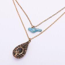 Vintage Women Necklace Blue Bird with Cage Pendant Necklace