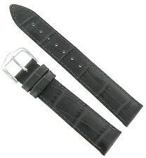 16mm Hirsch Duke Alligator Grain Genuine Leather Light Grey Matte Watch Band