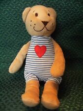 """IKEA Fabler Bjorn Teddy Bear Blue Stripe w/ Red Heart Plush Baby Toy 9"""" approx"""