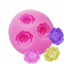 3 Rose Silicone Fondant Embossing Mold Mould Sugarcraft Baking Tools Cake DIY