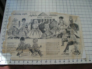 vintage large DRAWING on tracing paper MERRY CHRISTMAS KIDS CLOTHES