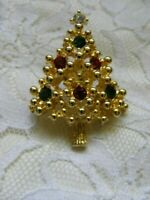 Vintage Christmas Tree Pin Brooch Gold Tone Rhinestone Figural Unsigned