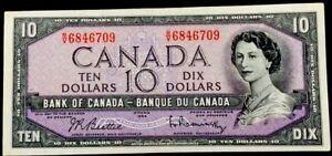 Canada 10 Dollars,1954,QEII,AUNC
