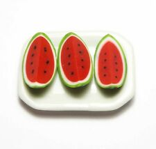 3 Dollhouse Miniature Watermelon Slices on a Ceramic Tray * Mini Dish Food Fruit