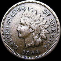 1864-L Initial L Indian Cent Penny   ---  NICE Rare   --- #D537