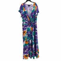 Ashley Stewart Womens A Line Dress Purple Floral Stretch V-Neck Maxi Plus 18/20