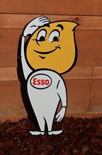 "OLD STYLE 24"" ESSO MOTOR OIL DROP BOY THICK STEEL SIGN SUPER ESSO PIECE USA MADE"