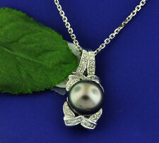 14k Solid white Gold Natural black Akoya Cultured Pearl & Diamond Pendant 0.14ct