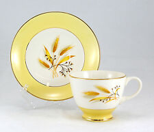 Century Service Co. AUTUMN GOLD Footed Cup and Saucer Set 2.625 in. Yellow Wheat