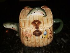 "Rainbow Trout Fish Fly Fishing Creel Basket Teapot Ceramic Enesco 6.5""H 9.5""L"