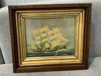 Antique 19th Cent. Walnut Frame Leaf Carving w/ Lithograph Print of Clipper Ship