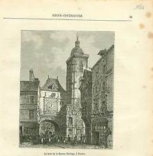 Gros-Horloge Rouen FRANCE GRAVURE ANTIQUE OLD PRINT 1882
