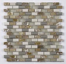 12 sheetsCream Glass/Stone/Metal/Pearl Mix Mini Brick Mosaic 15x30mm