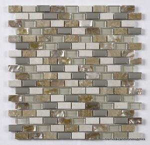 Cream Glass/Stone/Metal/Pearl Mix Mini Brick Mosaic 15x30mm
