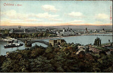 Coblenz Koblenz Rheinland-Pfalz ~1910 Panorama Dampfer Schiff Fluß Brücke Stadt