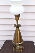 Vintage Mid-Century Brass Colonial Premier Table Lamp Torchiere Milk Shade