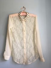 Urban Outfitters Sparkle And Fade Cream Lace Blouse With Studded Collar - Small