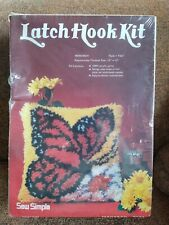 New listing Nos Vintage Latch Hook Kit Monarch Butterfly Sew Simple 12� X 12� 1979