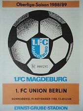Programm 1988/89 1. FC Magdeburg - Union Berlin
