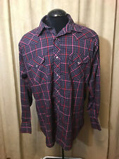 Mens Vtg 70s Ruddock Western Shirt 18 XL Multicolor Plaids Long Sleeve poly/cot