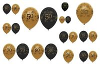 """Black & Gold 12"""" Latex Balloons Milestone Ages 18-90 Birthday Party Decorations"""