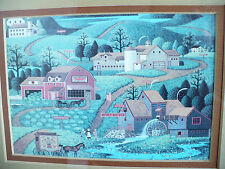 Small Industrial Farm Town Young America Picture Print Art in Wood Frame