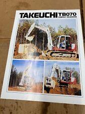 Takeuchi Tb070 Hydraulic Excavator Sales Literature Amp Specifications