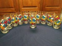 Lot of  11  Vintage SMURF Glasses Wallace ( Clumsy Smurf)  Berrie Peyo1982 1983