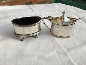 GEORGE V SOID STERLING SILVER,GEORGIAN STYLE SALT AND MUSTARD POT  CHESTER 1915