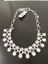 Anne Klein Beautiful Nickel Safe  Faux Pearl Crystal Choker Necklace $60 NEW