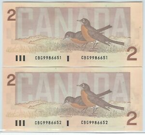 2 Sequential Serial Numbered 1986 Ungraded Thiessen-Crow $2.00 Notes