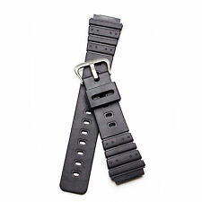 Genuine Casio AQ100 25mm Black Resin Rubber S.Steel SS Buckle Replacement Band