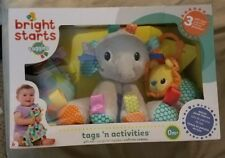 Bright Starts taggies~Tags 'n activities~3 toys/gift set~Elephant,Lion,Blanket