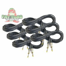 Fat Toad U-AP2303 20ft 1/4in Straight End Wires for Electric/Acoustic Guitar - Black, Pack of 6
