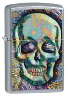 Zippo Geometric Skull Design Street Chrome Windproof Pocket Lighter, 49140