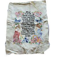 Vintage Signed Embroidered Sampler Lords Payer Children Flowers