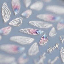 New 5D Engraved Nail Sticker Pretty Color Feather Shape Charm Desgin Empaistic N