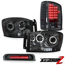 {SMOKED COMBO}Dodge RAM 06 L+R LED Tail Light+Halo Projector Headlight+3rd Brake