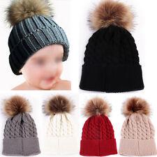Newborn Baby Boy Girl Fur Pom Hat Winter Warm Crochet Knit Bobble Beanie Cap UKx
