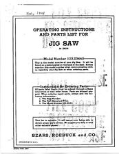 "1948 Craftsman 103.23440  24"" Walking Beam Jig Saw Instructions"