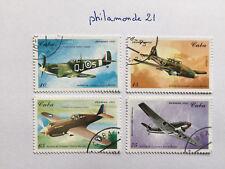 Lot 4 timbres Caraïbes 1995 FDC. YT CU 3449/52, Mi CU 3829/32. Avions de guerre