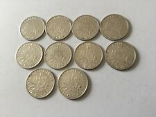 Lot de 10 pièces de 1 F en argent 1898/1901/02/04/07/09/15/16/17/18 TTB