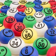 Multi 5 Colored Bingo Ball Set- Double Numbered Ping Pong Ball Size- 75 Ball Set