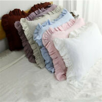 Ruffle Pillowcase 100% Pure Linen Ruffled Pillow Sham Cover King Queen Standard