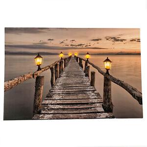 6 LED Light Up HD Seashore Jetty Scene Wall Home Decor Canvas Picture Gift Art
