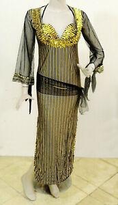 Egyptian Belly Dance Baladi Galabeya Performance Dress Costume w/Bra Black